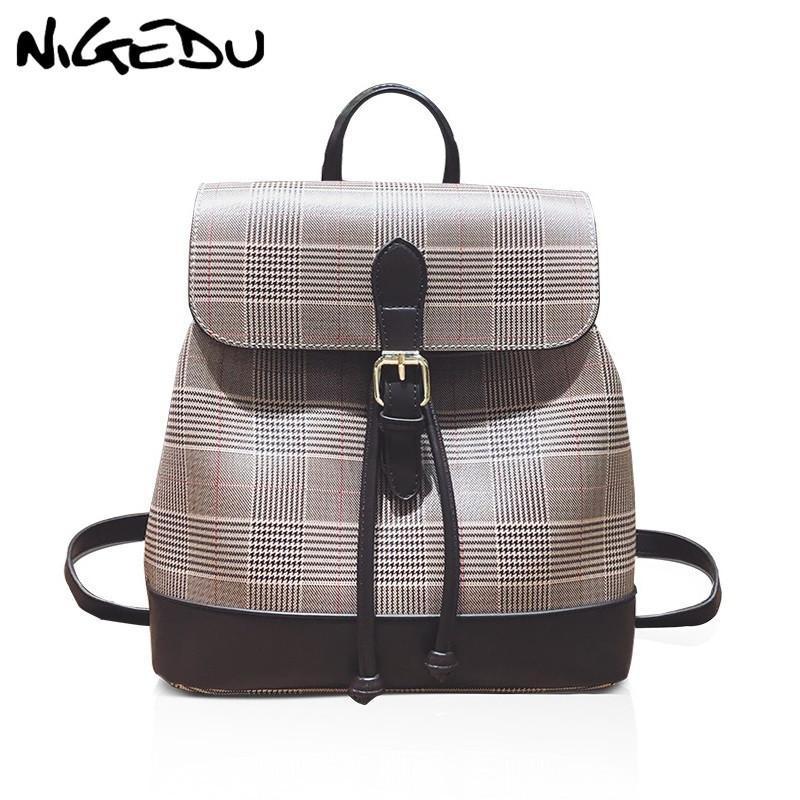 610fb79e33 Multifunctional Women Backpack Female Shoulder Bag Fashion Plaid School Bags  For Teenage Girls Backpacks PU Leather Cheap Backpacks Rolling Backpack  From ...