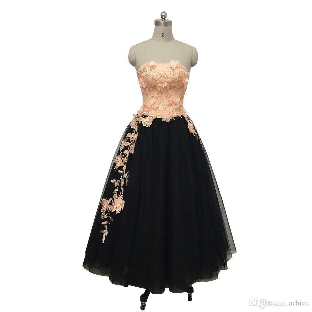 Vintage Gelinlik Modelleri Çay Boyu Pembe ve Siyah Suudi Arabistan Parti Elbise 3D Çiçek Tül Resmi Abiye Uzun Mezuniyet Elbise 2020
