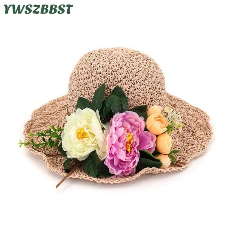 e3600f656 New Summer Women Sun Hats With Flowers Lady Wide Large Brim Foldable Straw Hat  Women Sunscreen Beach Cap Girl Bucket Hat Beach Hats Sun Hats For Women  From ...
