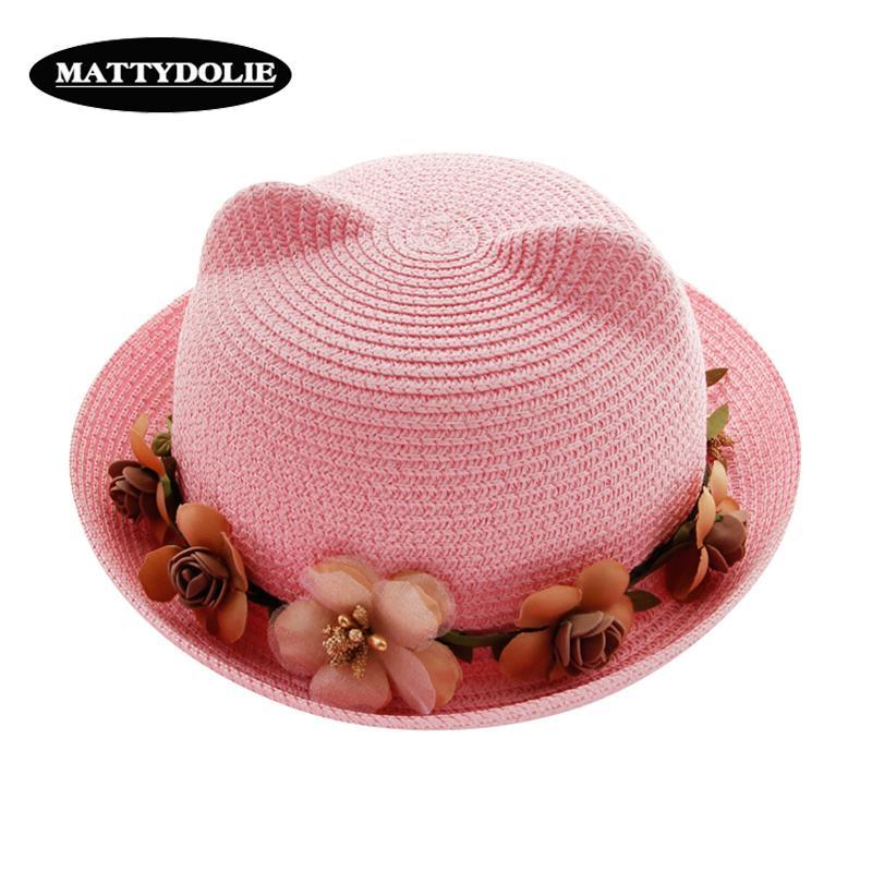6cda3dc12c2cf Compre MATTYDOLIE Sombrero De Paja Verano Mujer Lindo Gato Oídos Arco Flor  Playa Sombrero Padre Hijo Sol Plegable Niño Niña A  26.0 Del Fabuline