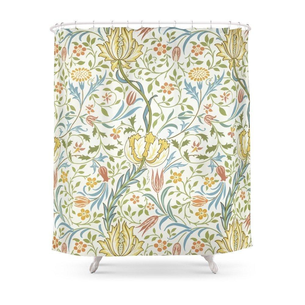 2019 William Morris Flora Shower Curtain Waterproof Polyester Fabric Bathroom Decor Multi Size Printed With 12 Hooks From Donaold