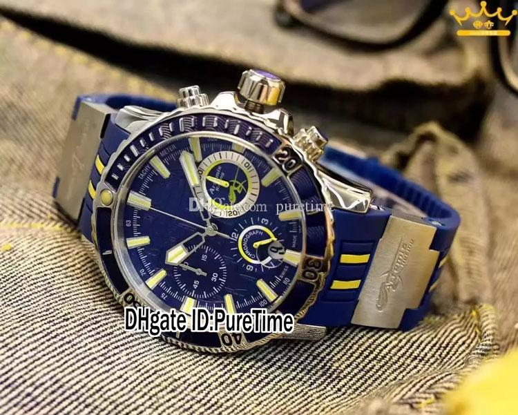 Super Maxi Marine Diver 1502-151LE-3/93-HAMMER Bleu Dial Miyota Quartz Chronographe Mens Montre En Caoutchouc Chronomètre Montres Puretime UN97a1