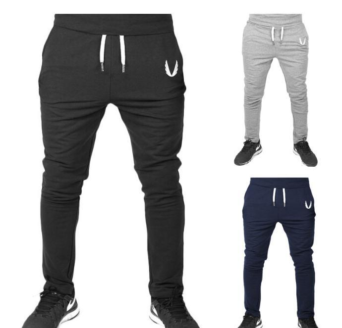 Foreign trade new men's casual trousers, computer embroidered standard comfortable ventilated and slim sports pants. S-ZXL Size