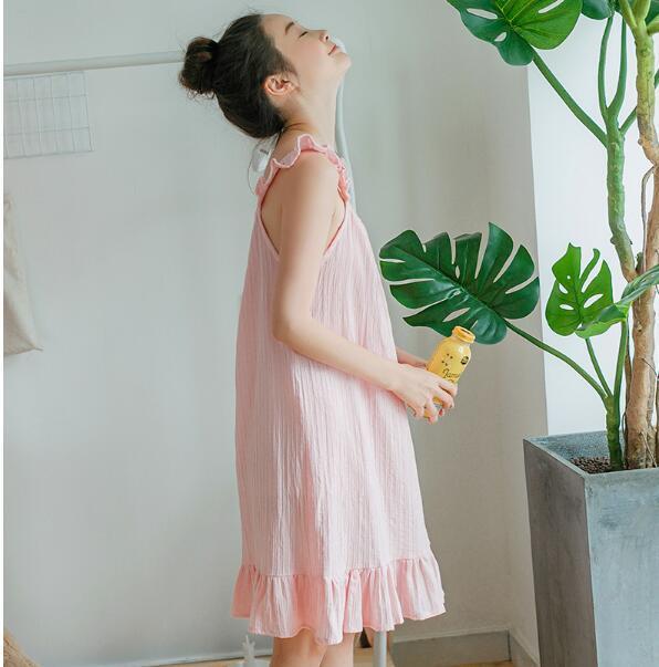 076ff1987c Compre Camisón De Encaje Sexy Para Mujer Verano Camisón De Cinta Delicada  Sin Mangas Ropa De Casa Cabestrillo Femenino Suelto Camisón A  175.88 Del  ...