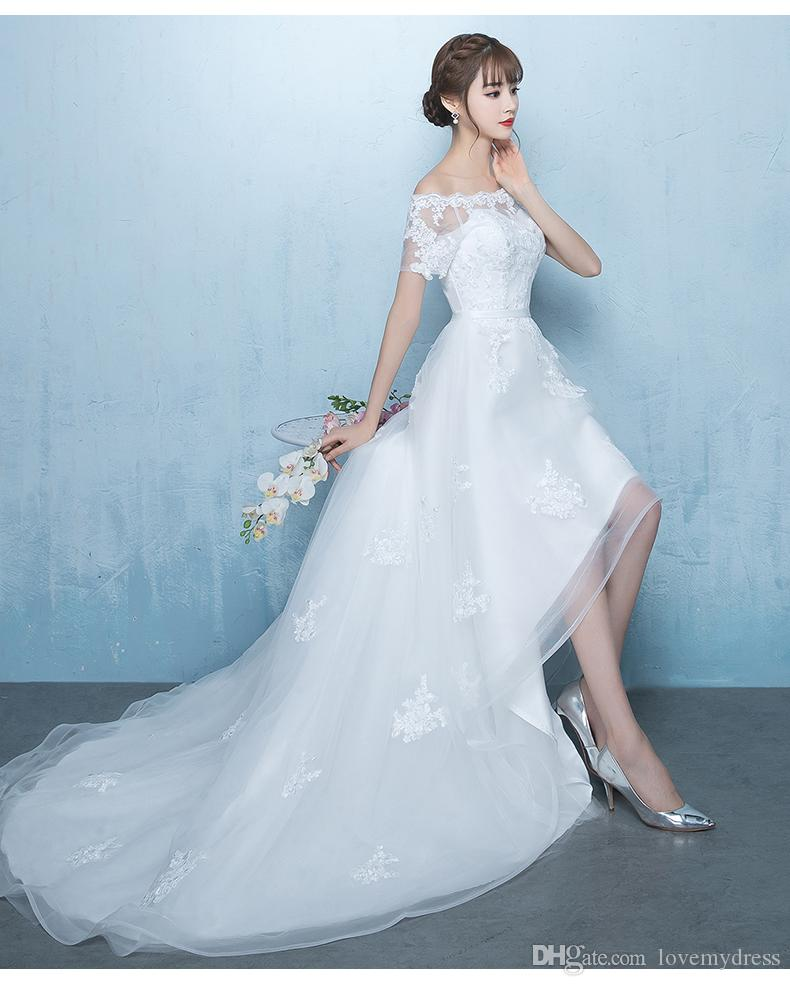 Elegant High Low Cheap Wedding Dresses With Short Sleeves Applique Lace Corset Organza Court Train Plus size Bridal Gowns Off shoulders