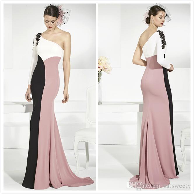 Aso Ebi Black Appliques Mermaid Prom Dresses 2018 One Shoulder Multi ...
