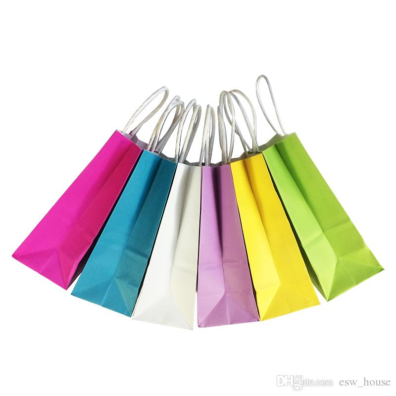 Small Kraft Paper Gift Bag DIY Multifunction Soft Color Paper Bag with Handles 21x15x8cm Festival Gift Bag