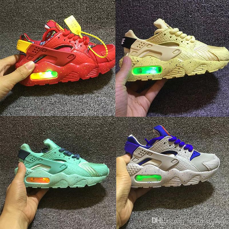a91f5c18a54d 2018 Fashion Flash Lighted Kids Air Huarache Children Running Shoes Infant  Huaraches Outdoor Toddler Athletic Boy   Girls Sneaker 26 35 Tennis Shoes  For ...