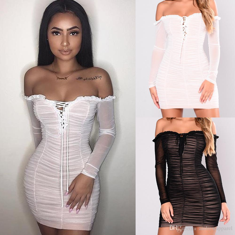 5a24b5202b8 2019 Women Sexy Bodycon Dress Underwear Solid Mini Dress Long Sleeve Sleepwear  Sexy Sleepwear Clubwear Night Clothing Lady Sexy Lingerie From  Andrewapparel
