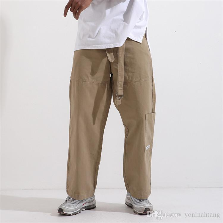 1e81350ef6e 2019 100% Cotton Cargo Pants Straight Design Men Plus Size Solid Color  Pocket Outdoor Casual Trousers Loose Straight Trousers From Yoninahtang