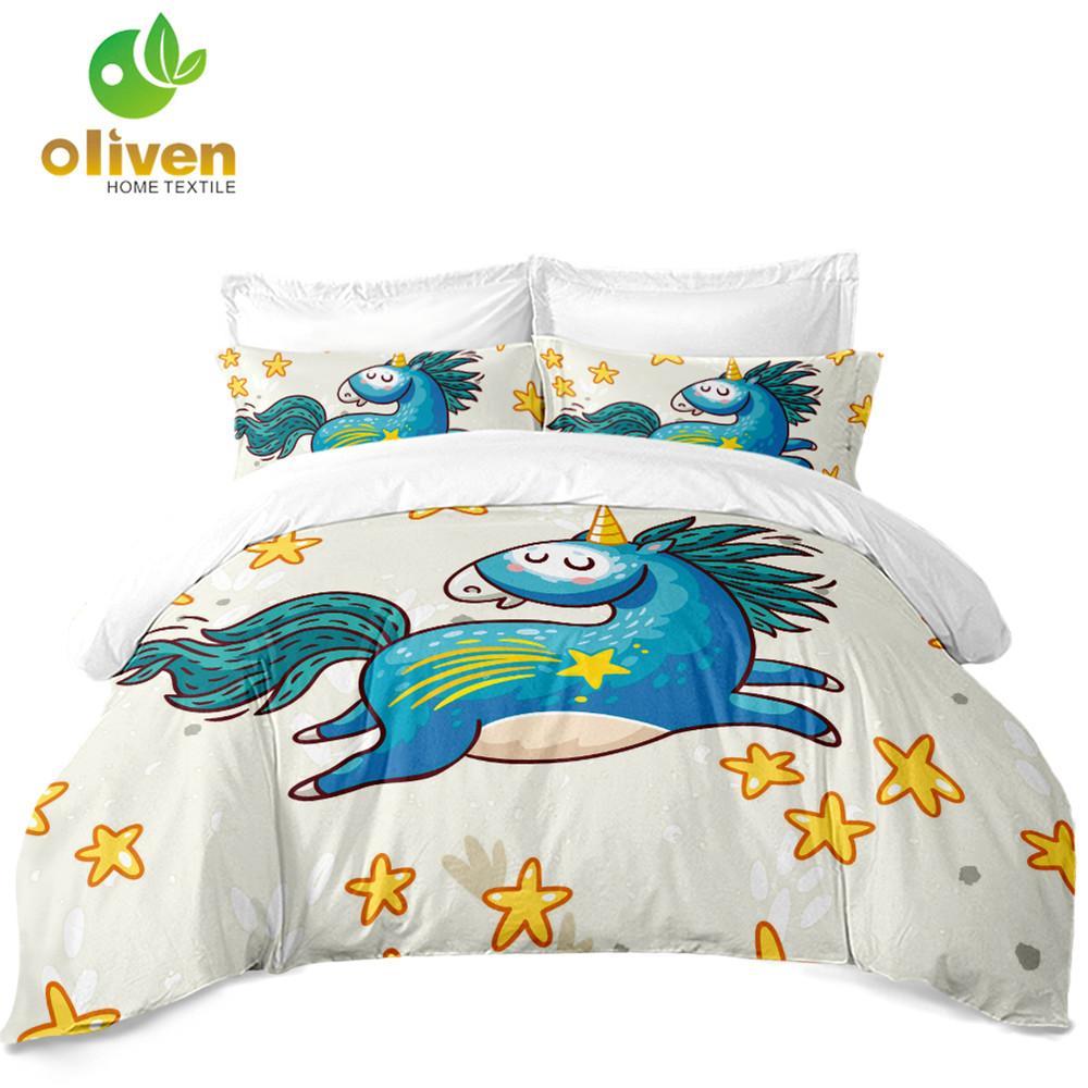 Cartoon Bedding Set Blue Unicorn Starfish Duvet Cover Cute Kids