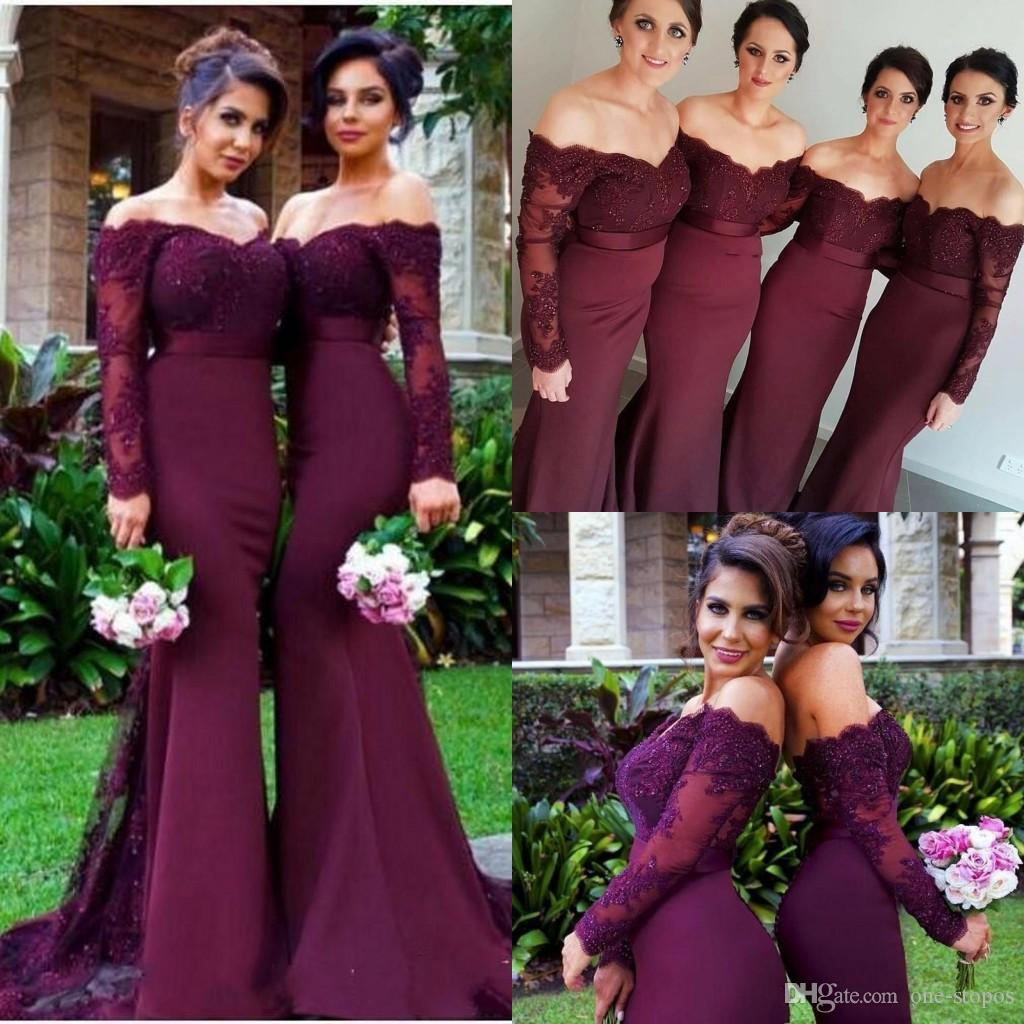 3b6ebbf3ec 2018 Dark Maroon Off Shoulder Mermaid Bridesmaid Dresses Lace Appliques  Maid Of Honor Gowns Custom Made Wedding Guest Dresses Non Traditional  Bridesmaid ...