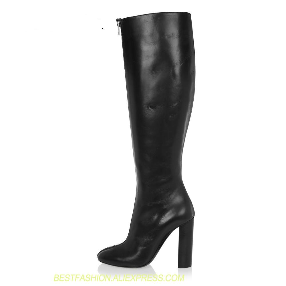 1cf675a33462 Over The Knee High Heel Boots Round Toe Chunky Thick Extreme High Heels  Front Zipper Sexy Women Boots Winter Shoes Plus Size 45 Ankle Boot High Heel  Shoes ...
