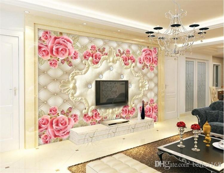 European Soft Bag Rose Art Wallpaper Photo Mural for Living Room TV Background Wall Decor Custom Size Landscape