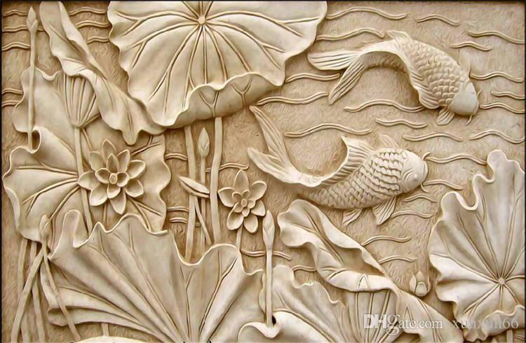 Fake Wood Carvings Relief Paintings Nuevo Chino clásico Large Fresco 3D Stereo Wallpapers Living Room TV Fondo Pared Lotus Fish