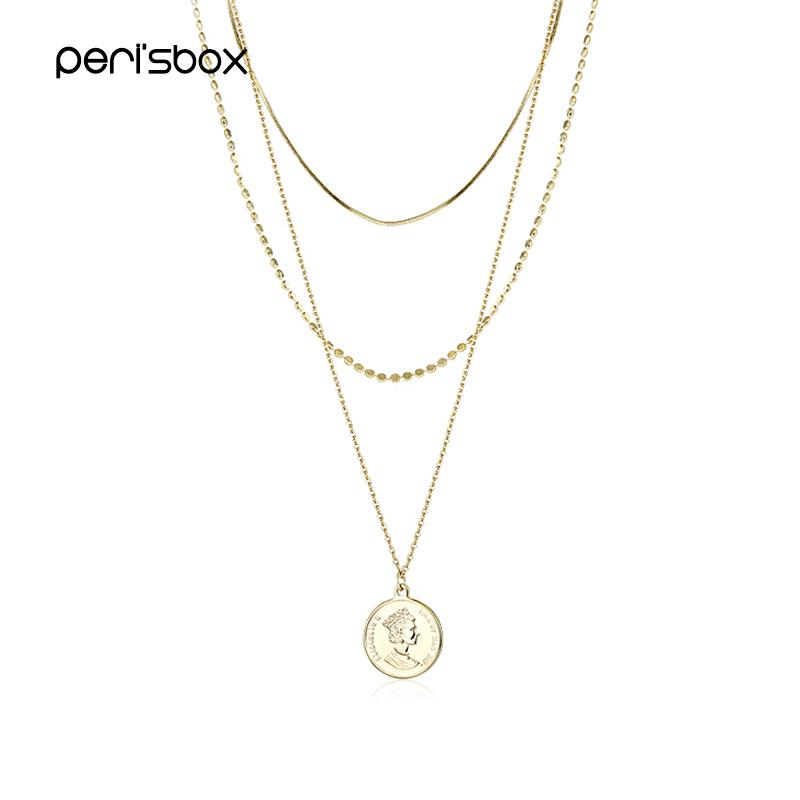 6a06bfe3e921 Peri sBox Boho Style Three Layered Chain Choker Necklace for Women Portrait  Coin Pendant Chokers Dainty Disc Necklaces Wholesale