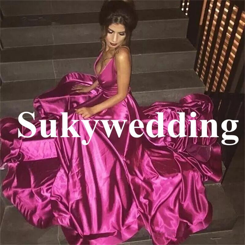 Sexy Fuchsia Prom Dresses Spaghetti Straps A line Satin Deep V Neck Formal Party Gowns Backless Evening Gowns Sweep Train Vestidos
