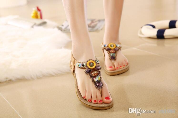 a3d18348265f8 New Style Summer Bohemia Flat with Clip Toe Female Beach Shoes Roman Sandals  Diamond Beads National Wind Bohemian Style Sandals Beach Sandals Shoes  Online ...