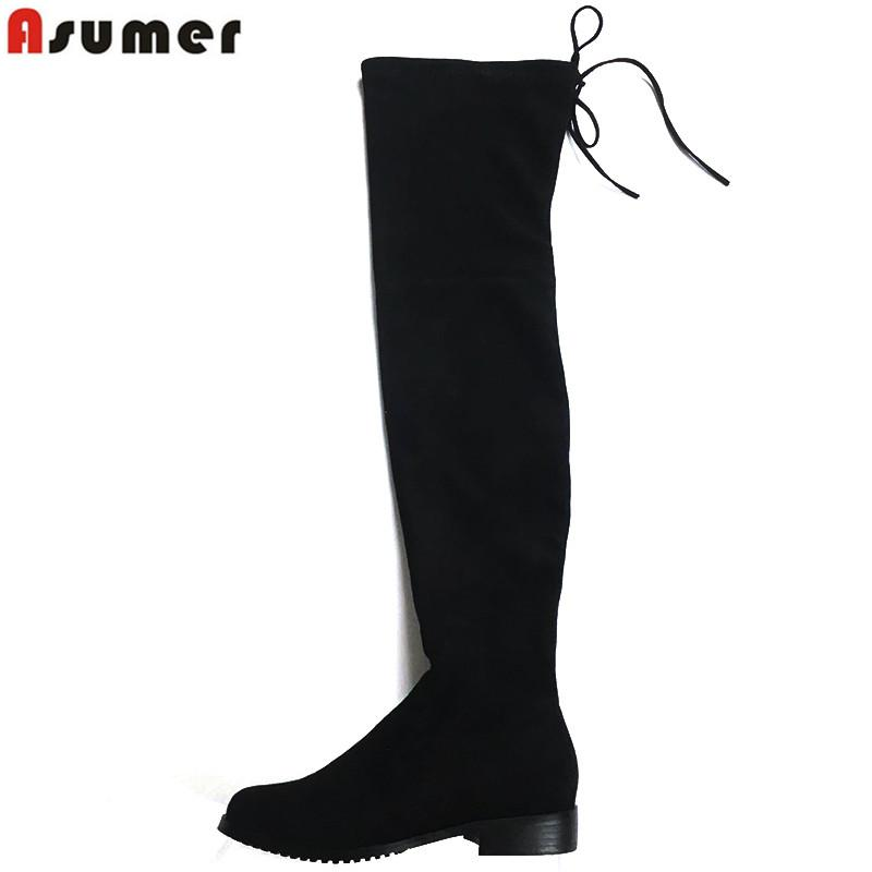 ASUMER 7 Colors Women Faux Suede Thigh High Boots Women Flat Comfort Sexy Slouchy Over the Knee Boots Ladies Spring Autumn shoes