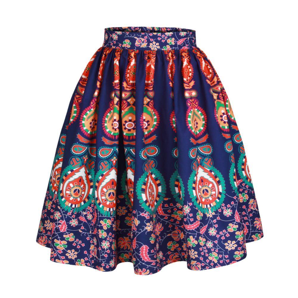 Womens Ethnic Flower Totem Printed A Line Skirt Empire Waist 3D Digital Printed Mid-Calf Casual Summer Skirt Dress