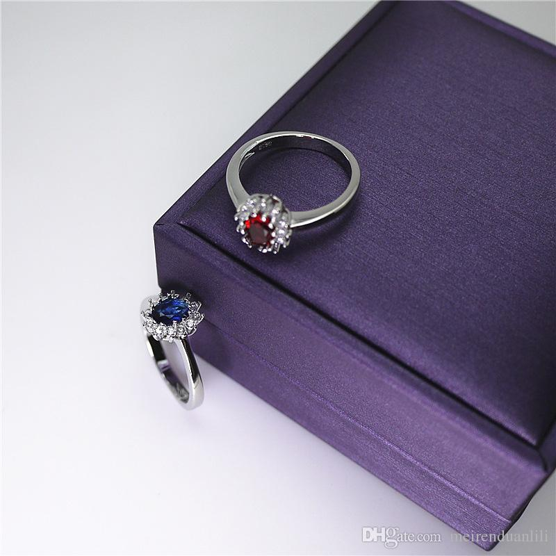 Red/Blue Shinny Crystal Ring Platinum Plated Romantic Ring Cubic Zircon For Women Couple Valentine's Day Luxury Jewellry With Free Box