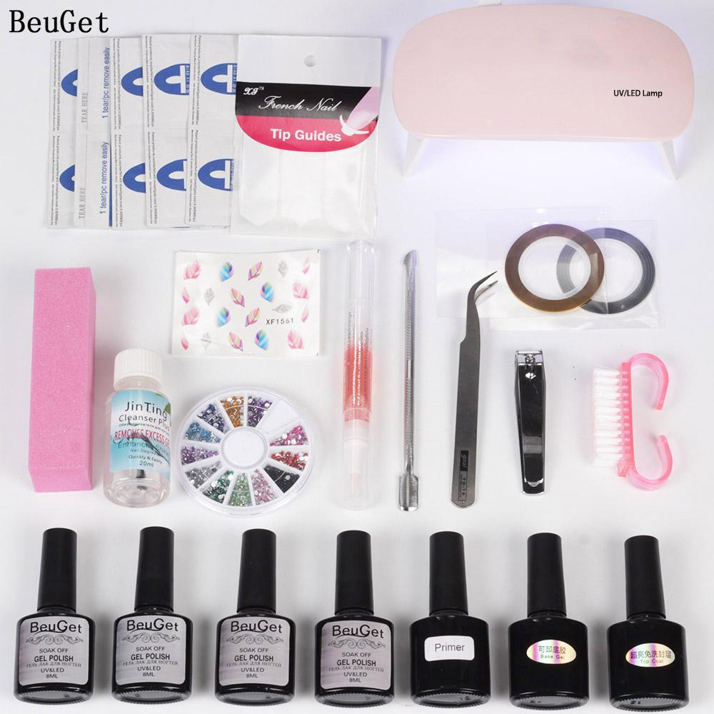 Usb Beuget 4 Top Base Tool Gel Vernis En Lampe 6w Set Couleurs Pour Manucure À Ongles Apprêt And Led R35jA4L