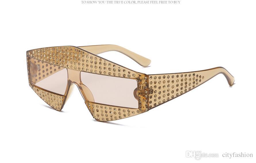 Lunettes de soleil surdimensionnées populaires de style avant-garde incrustées de perles Rivets sans cadre et de haute qualité