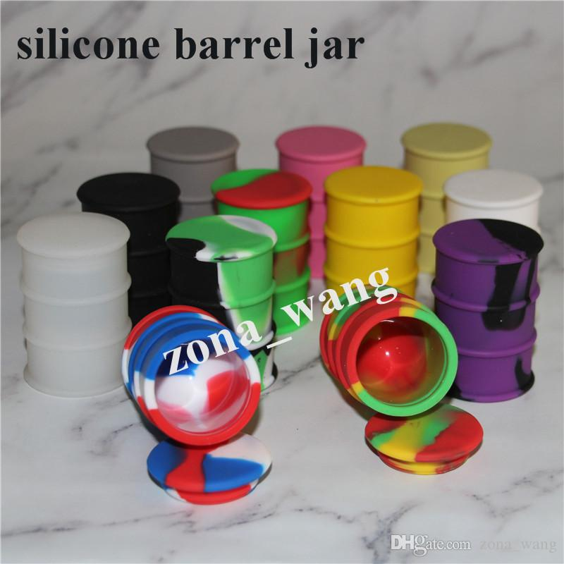 Storage Silicone Jar Container 26ml Wax Box For Oil Drum Barrel Containers Mixed Color silicone water pipe barrel rigs