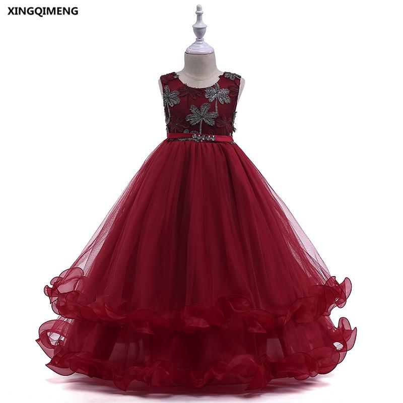 In Stock Long Flower Girl Dresses 5-14Y Wedding Party Formal Dresses for Little Girls Cheap Elagant Pageant Tulle Ball Gown