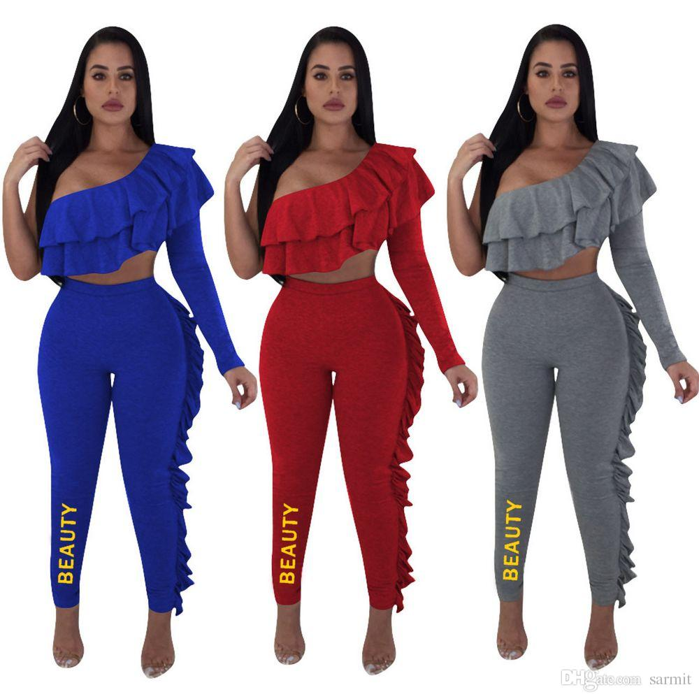 2019 Summer Pants Set Womens Tracksuit CHEAPEST Two Piece Outfits F588  Sweatsuits One Sleeve Ruffle From Sarmit c3771f4124