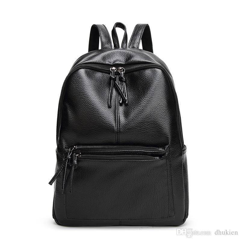 ef64c6c1da5f Korean Style Women Backpack Fashion Pu Leather Backpacks for Teenage ...