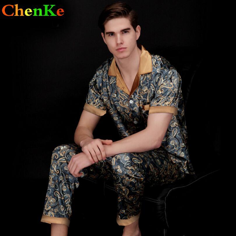 14f57e32ff 2019 ChenKe Luxury Pajamas Sets Men Dragon Robe Pattern Sleepwear Silk  Short Sleeved Satin Men S Lounge Pajamas Set Plus Size 3XL From Bunnier