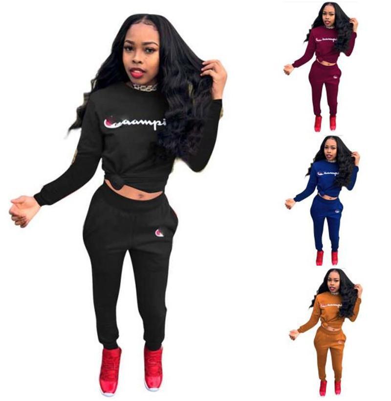63782c6bf60e1 Acheter Femmes Champions Survêtement À Manches Longues Pull À Capuche +  Pantalons Joggeurs Ensemble 2 Pièce Outfit Marque Mode Sportswear Sports  Jogging ...