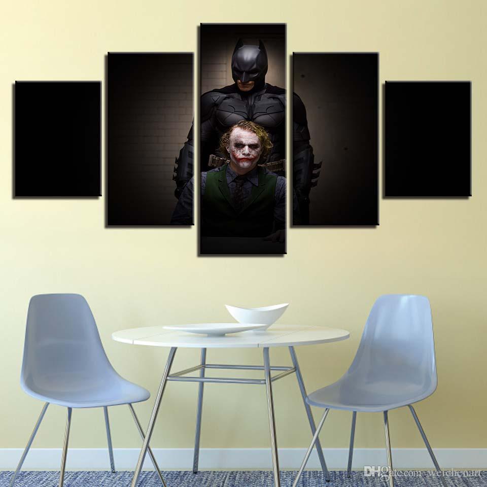 Wandkunst Poster Wohnkultur Moderne 5 Panel Batman Clown Für Wohnzimmer Leinwand HD Modulare Malerei Drucken Bilder Rahmen
