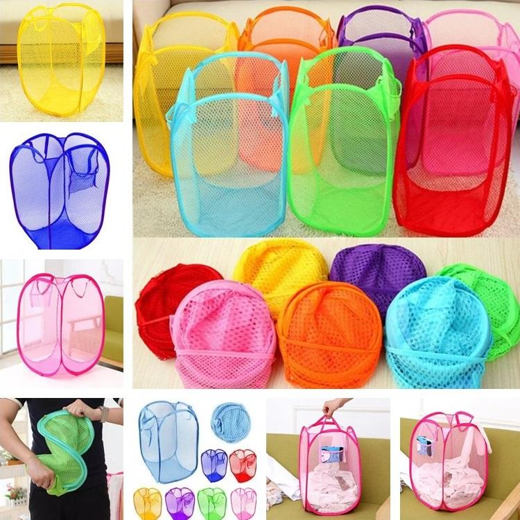 B07 Fashion High Quality Large Size Dirty Clothes Basket Wholesale Folding Color Net Storage Basket Dirty Clothes Bucket T7D003