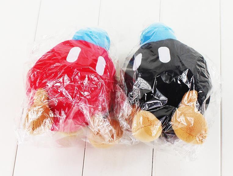 14CM Super Mario Bros bomba de pelúcia preto do brinquedo e bomba vermelha macia pelúcia boneca bomba presente transporte livre bom para as crianças