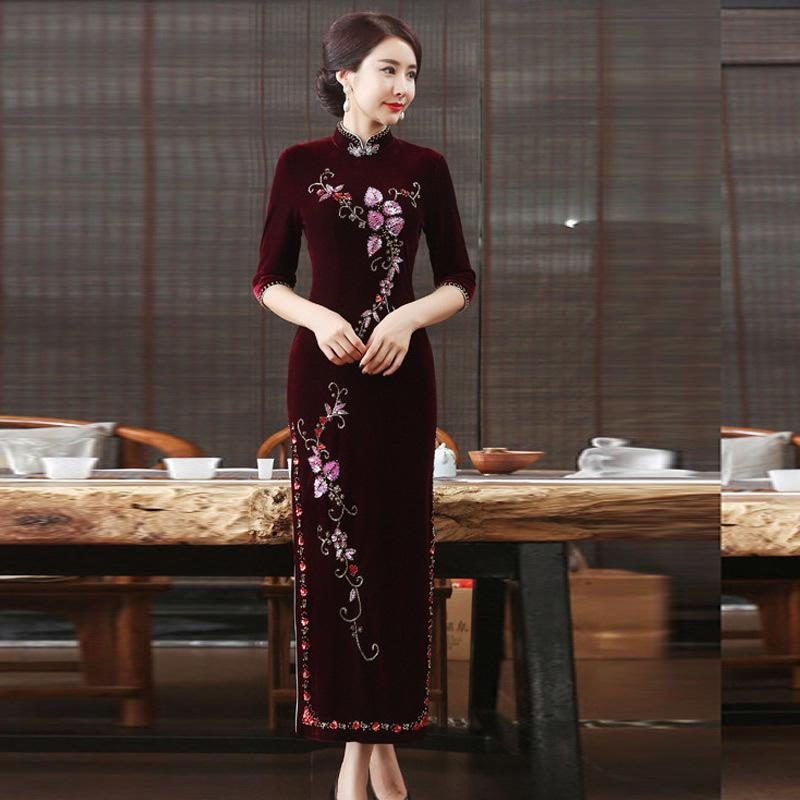 8f892ccdb25ee3 2018 Mode Velours Cheongsam Pour Vente Sexy Qipao Longue Robe  Traditionnelle Chinoise Chine Magasin De Vêtements Bleu Shanghai