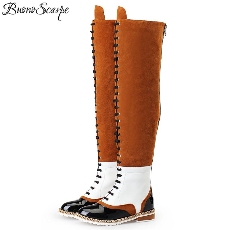 ba6748fdd8ac2 BuonoScarpe Winter Over The Knee Retro Long Boots For Women Patchwork Suede  Cross Tied Motorcycle Boots Metal Chains Woman Girls Boots Black Ankle Boots  ...