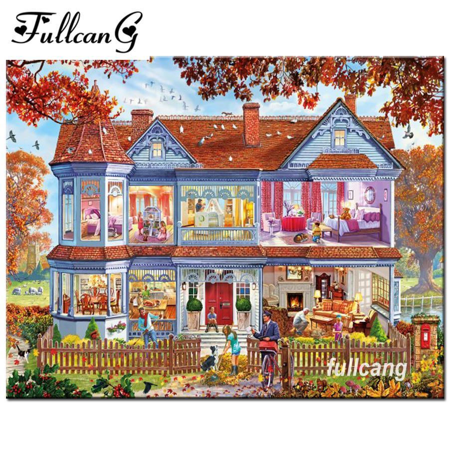 FULLCANG diy 5d diamond painting cross stitch sweet home diamond embroidery  picture full square diamonds F921