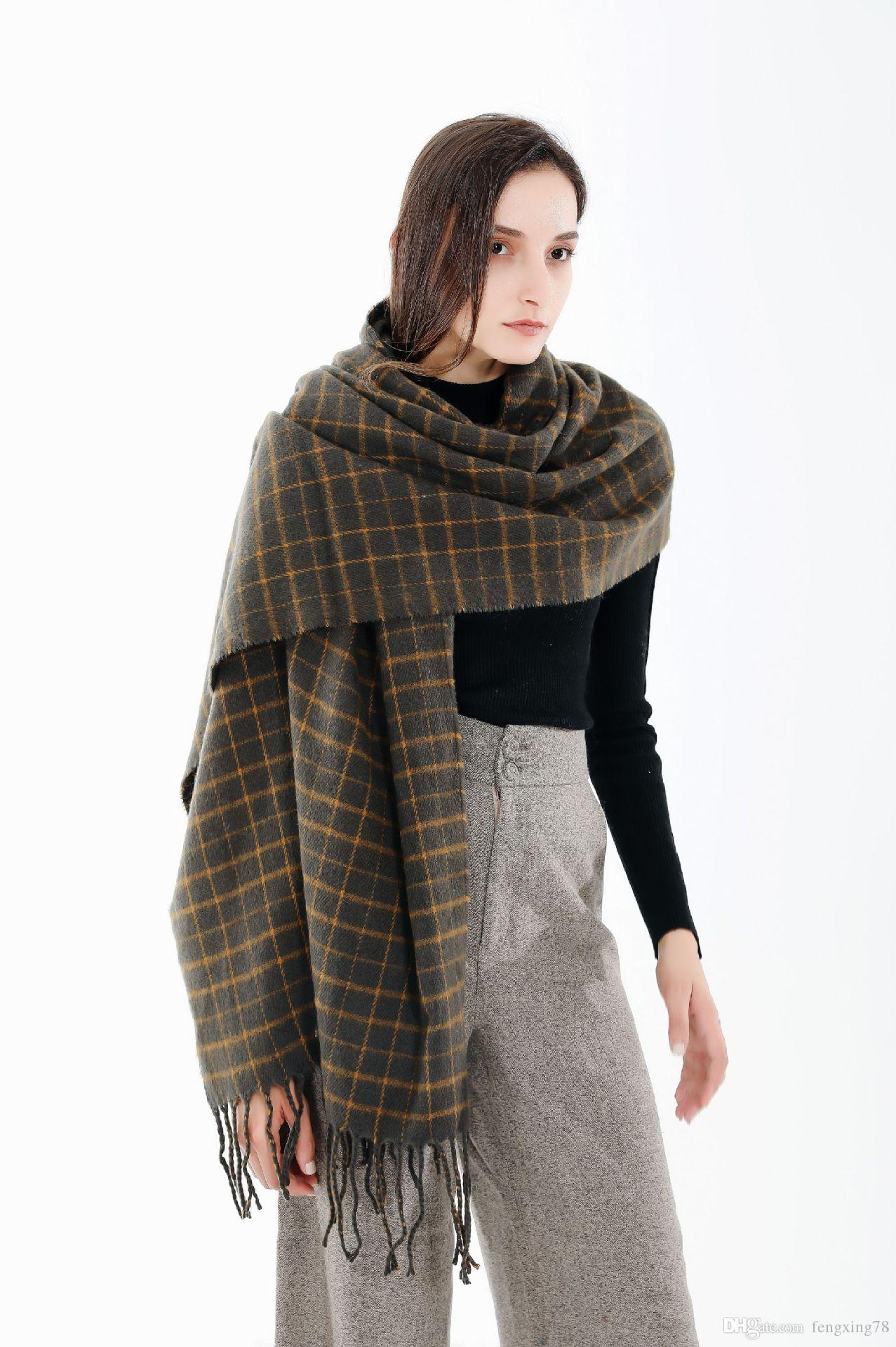 b150852e903 New autumn and winter British wind scarf shawl Unix couple thick warm wool  cashmere plaid scarf shawl dual-use models Chistmas gift