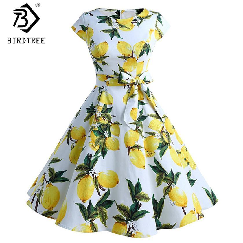 4dd6b130665e52 2019 Summer Party Dresses 50s 60s Vintage Dresses Audrey Hepburn Robe  Rockabilly Swing Lemon Print Retro Vestidos Pin Up Midi D83309A From  Elizabethy, ...