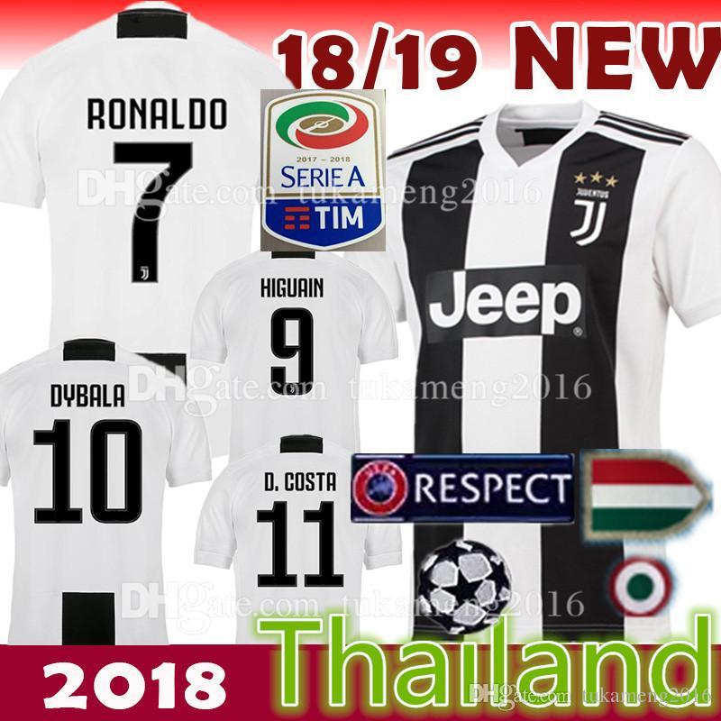 60a73d804 2019 18 19 Juventus Soccer Jersey 2018 JUV 7 Ronaldo Cuadrado CR7 9 HIGUAIN  10 DYBALA 11 D. Costa 17 MANDZUKIC 1 BUFFON 33 Football Uniforms From ...