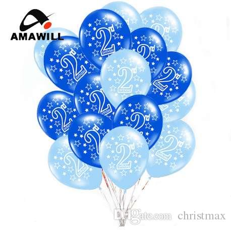Amawill 2 Happy Birthday Printed Latex Balloons For Baby Shower 2nd Party Decorations Years Old Kids Favor 5D Balloon Shapes Large From