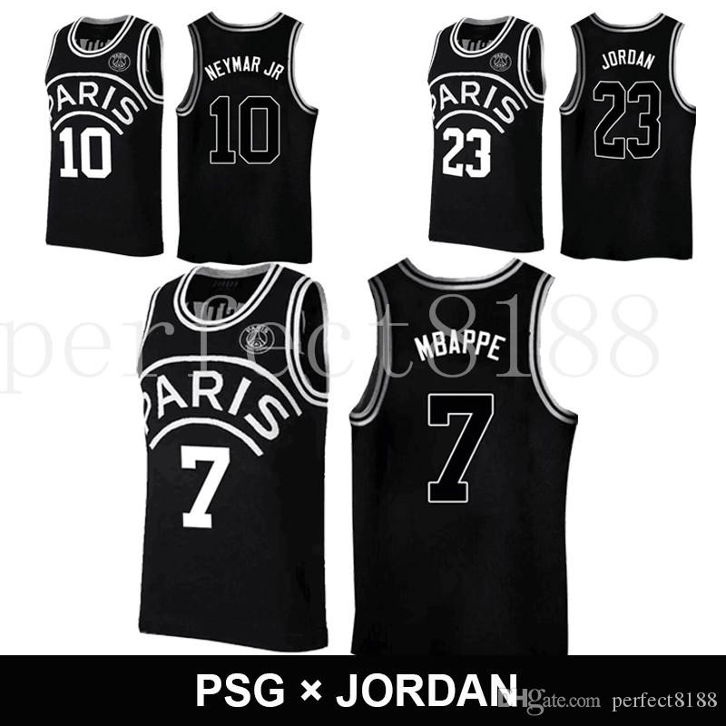 2019 2018 Black Basketball AJ PSG Jerseys 23 Michael MJ NEYMA 10 Jr Jersey  7 MBAPPE Paris Maillot De Basket Black Shirt From Perfect8188 4d3b94a27