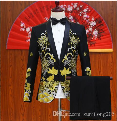 28300ec8d8dfd New Black White Red Jacket Pants Set Plus Size Men s Embroidered ...