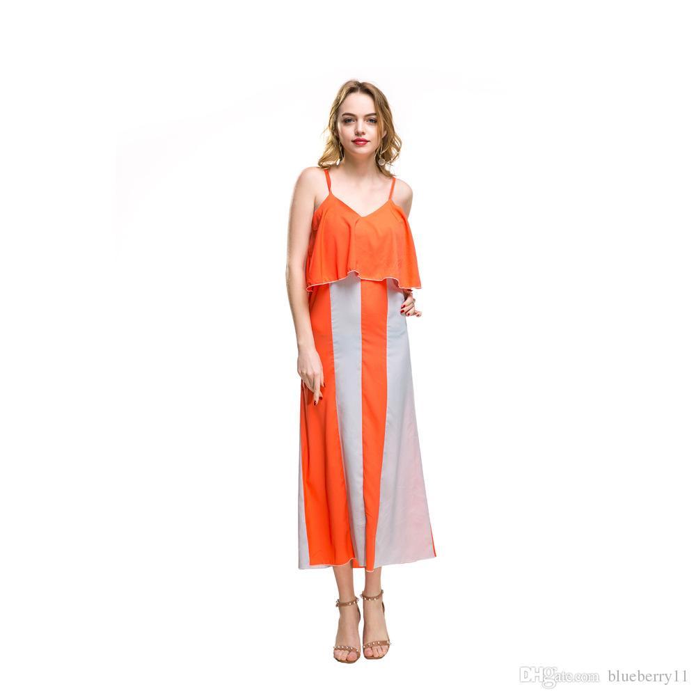 3fb6fa23c Compre Moda Gasa Vestidos Casuales Naranja Azul Sin Mangas Cuello En V  Profundo Suelta Vestido Largo Mujeres Verano Maxi Vestidos De Playa S 2XL A   21.61 ...