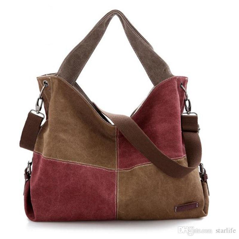 085e06bd1 Patchwork Canvas Women Handbags Tote Vintage Femal Shoulder Bag ...