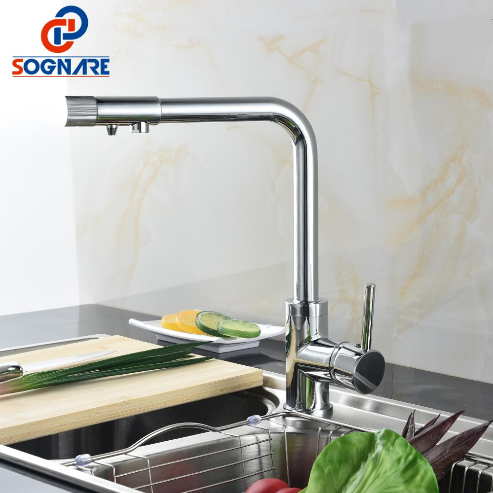 SOGNARE Drinking Water Filter Faucet 100% Brass Cold and Hot Single Handle Filter Purifier Kitchen Faucets For Sinks Taps D2334