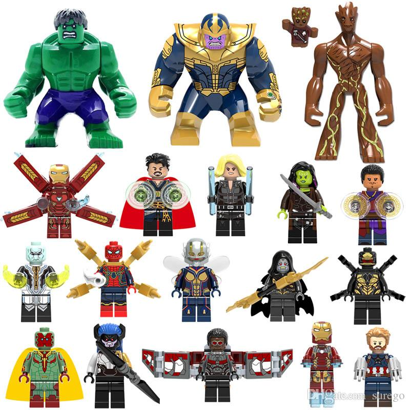 Model Building 6pcs Marvel Avengers Super Heroes Spiderman Thor Thanos Iron Man Building Blocks Bricks Toys Gifts Compatible With Lego 100% Guarantee Blocks