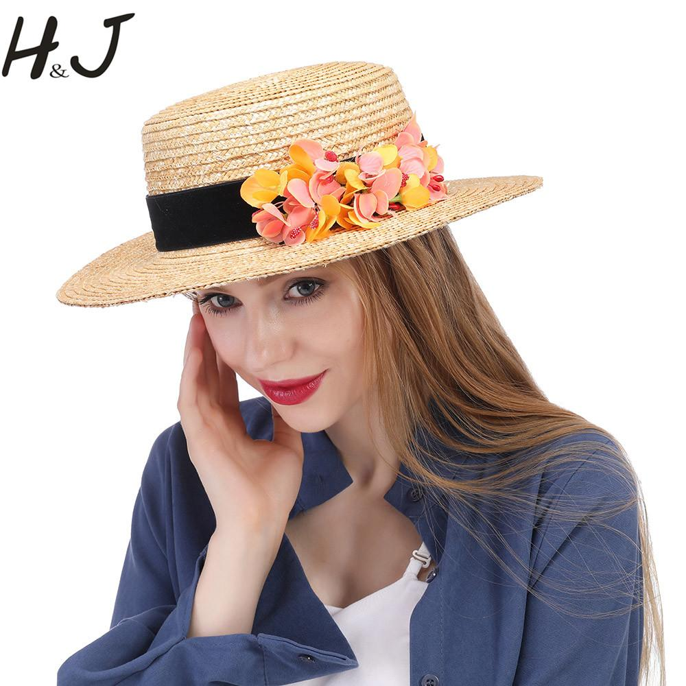 Nature Wheat Straw Femmes Summer Sun Hat Lady Beach à large bord plat Boater Chapeau Avec La Main Fleur Jaune Taille 56-58CM